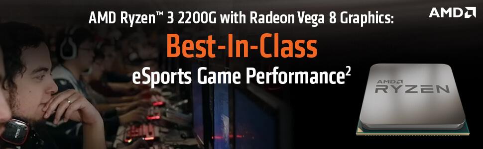 AMD AM4 Ryzen 3 2200G 4 Core Processor with Integrated Radeon RX Vega 8  Graphics