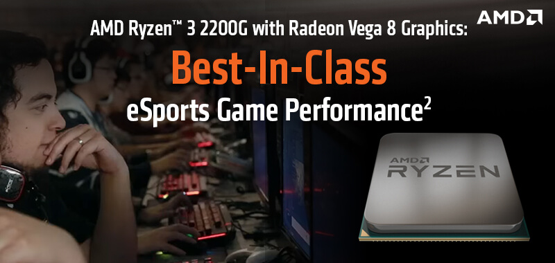 AMD RYZEN 3 2200G WITH RADEON RX VEGA 8 GRAPHICS PROCESSOR (upto 3 7 GHz /  4 MB Cache)
