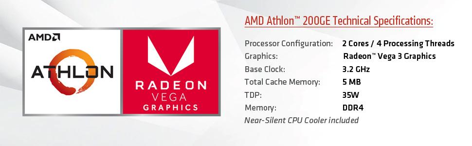 Amd Athlon 200ge 2 Core 4 Thread 3 2 Ghz Base Socket Am4 35w Yd200gc6fbbox Desktop Processor Newegg Com