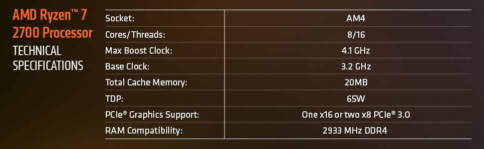 AMD RYZEN 7 2700 8-Core 3 2 GHz (4 1 GHz Max Boost) Socket AM4 65W  YD2700BBAFBOX Desktop Processor - Newegg com