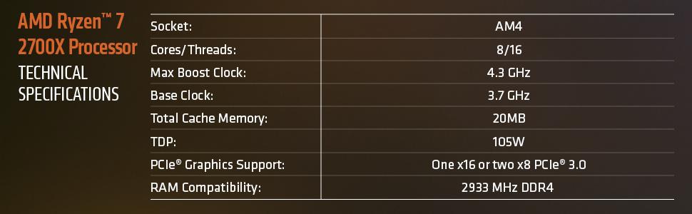 AMD RYZEN 7 2700X 8-Core 3 7 GHz (4 3 GHz Max Boost) Socket AM4 105W